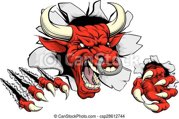 touro, através, rasgando, fundo, vermelho - csp28612744