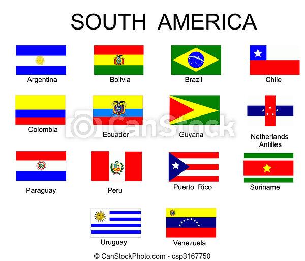 tout, pays, liste, drapeaux, amérique, sud - csp3167750