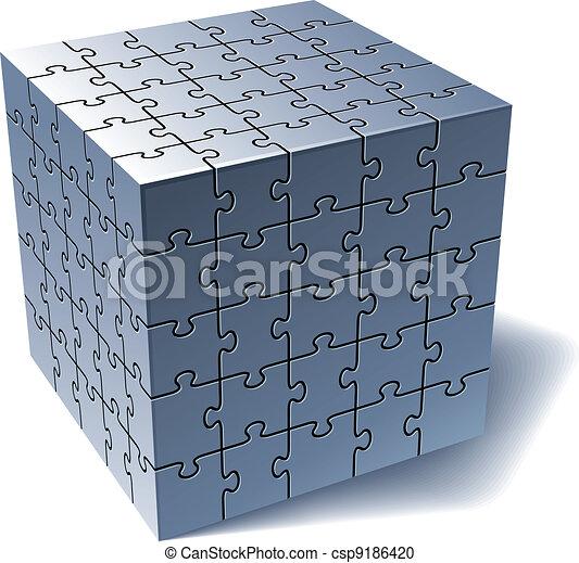 tout, puzzle, puzzle, ensemble, parties, cube. - csp9186420
