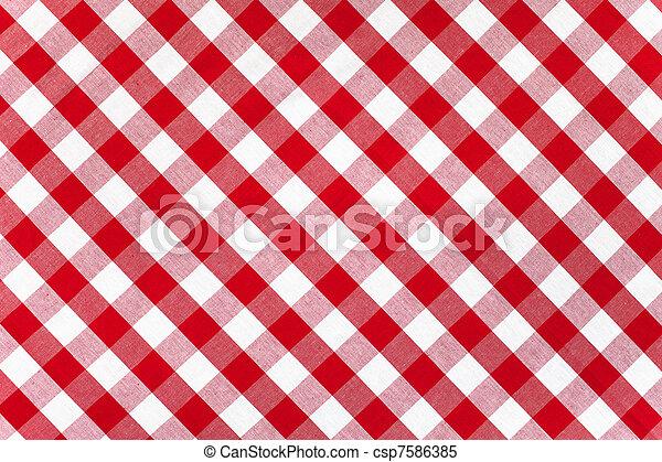 tovaglia, controllato, tessuto, rosso - csp7586385