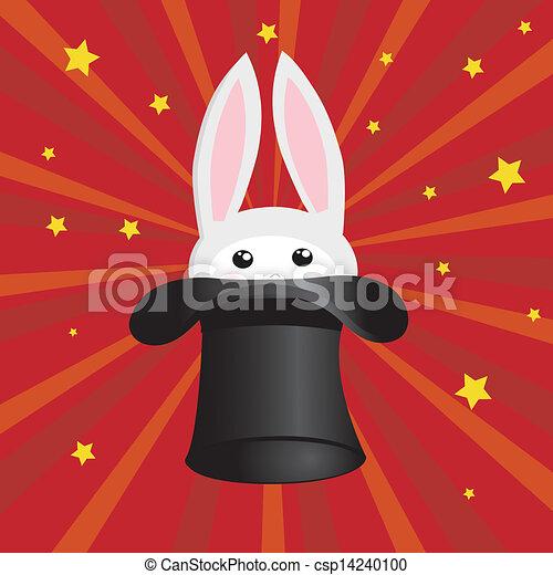tovenaar, hoedje, konijn, pictogram - csp14240100