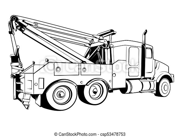 tow truck outlined clipart vector search illustration drawings rh canstockphoto com tow truck clipart free tow truck clipart free