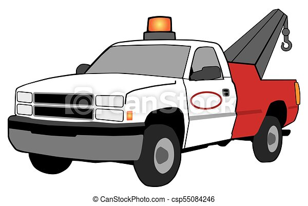 a cartoon tow truck with flashing light and large hook eps vector rh canstockphoto com tow truck graphics pictures tow truck graphics pictures