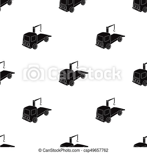 Tow Truck Icon In Black Style Isolated On White Background Clip