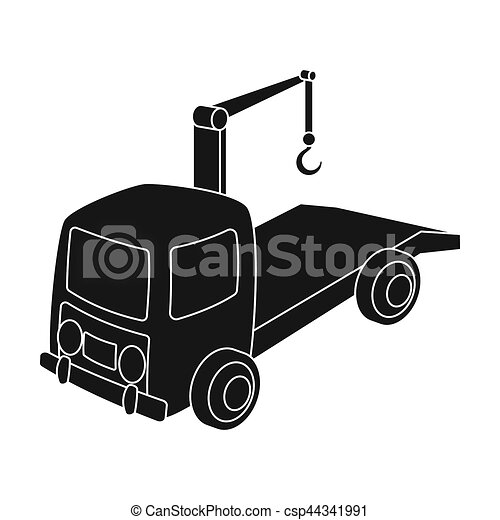 Tow Truck Icon In Black Style Isolated On White Background Stock