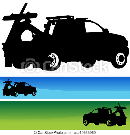 Tow Truck Silhouette Banner Set - csp10665960