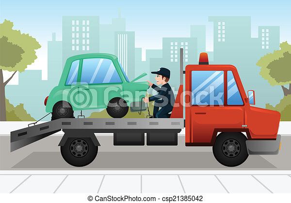 Tow truck towing a broken down car - csp21385042