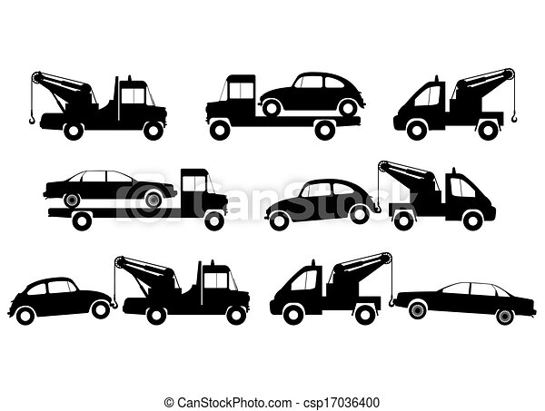 Tow Truck Silhouettes Vector Clipart Search Illustration Drawings