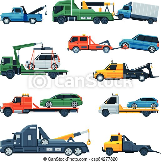 Tow Trucks Set, Evacuation Vehicles Transporting Cars, Road Assistance Service, Side View Flat Vector Illustration - csp84277820