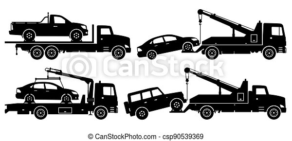 Tow trucks silhouette vector illustration with side view - csp90539369