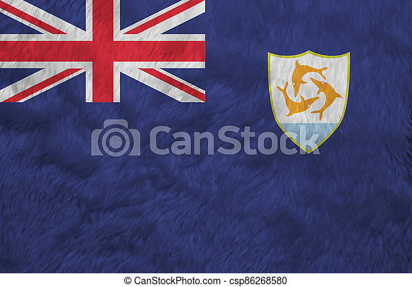 Towel fabric pattern flag of Anguilla. Blue Ensign with the British flag and the coat of arms of Anguilla in the fly. - csp86268580