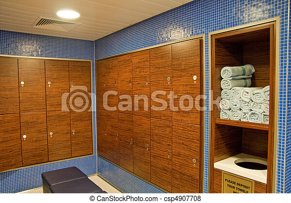 Towels and Wood Lockers in a Spa