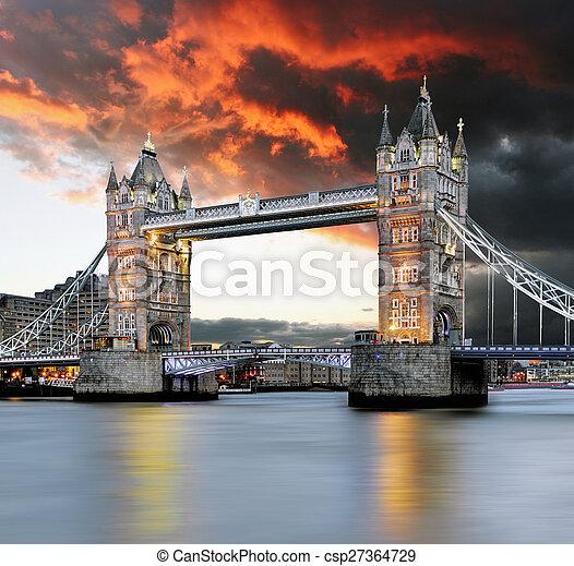 Tower bridge at red sunset - csp27364729
