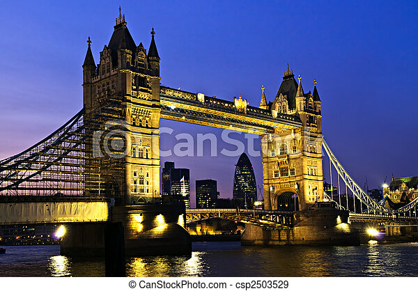 Tower bridge in London at night - csp2503529