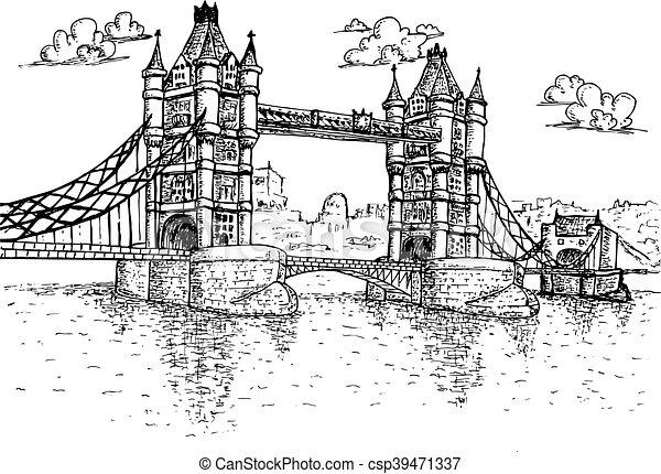 Tower Bridge in London Hand drawn - csp39471337