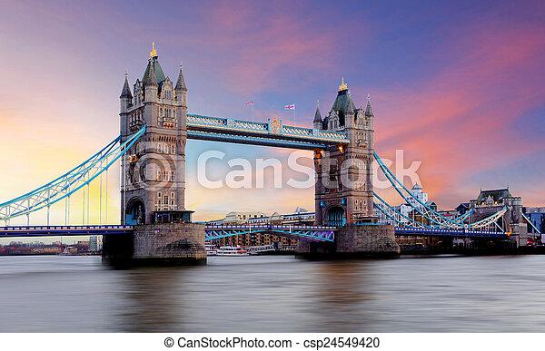 Tower Bridge in London, UK - csp24549420