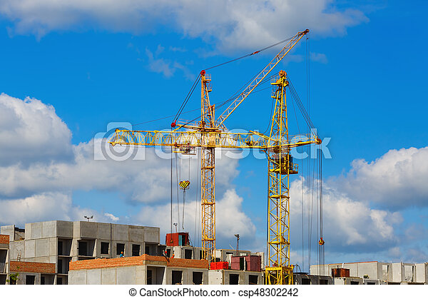 Tower cranes on the construction - csp48302242