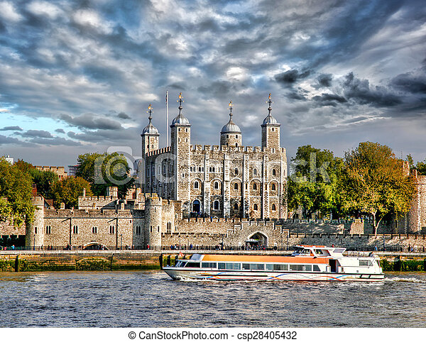 Tower Hill castle with boat in London,England,UK - csp28405432