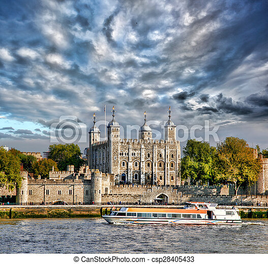 Tower Hill castle with boat in London,England,UK - csp28405433