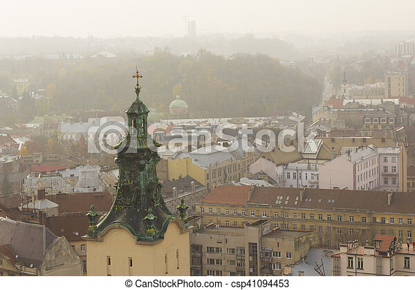 Tower of a Latin Cathedral in Lviv - csp41094453
