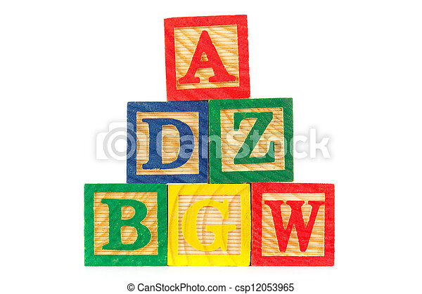 Tower of ABC wooden learning blocks on white - csp12053965