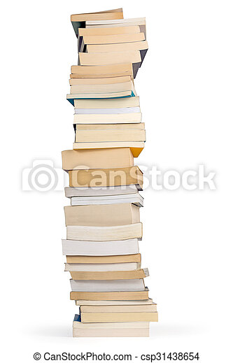 tower of books isolated on white background - csp31438654