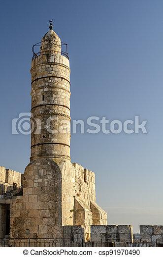 Tower of David in Jerusalem, Israel - csp91970490