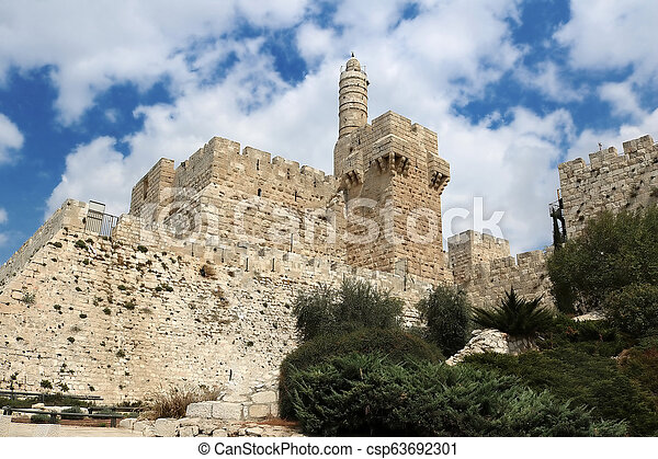 Tower of David in the old city of Jerusalem, Israel - csp63692301