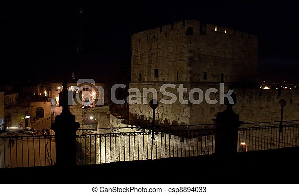 Tower of David view from a roof in Jerusalem old city, Israel - csp8894033