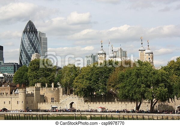 Tower of London and St.Mary Axe - csp9978770