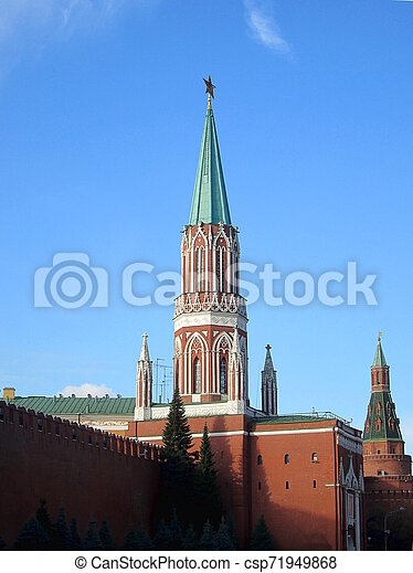 Tower of Moscow Kremlin at Red Square in Moscow. Russia. - csp71949868