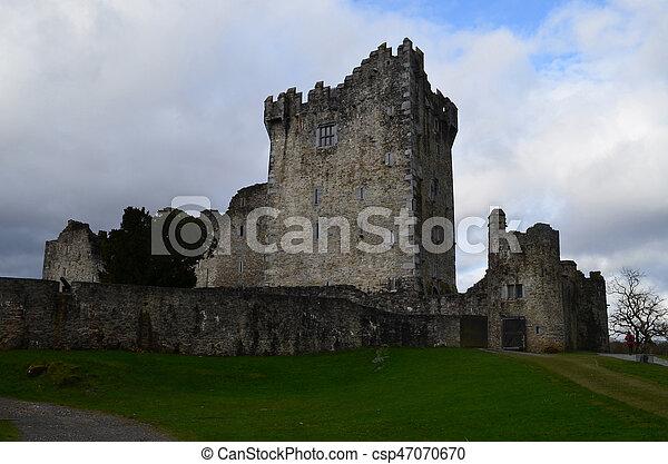 Towering Ruins of Ross Castle in Killarney Ireland - csp47070670