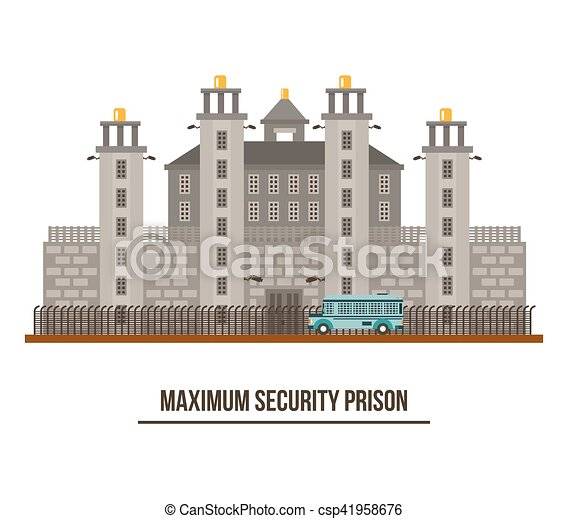 Towers and fence at maximum security prison - csp41958676