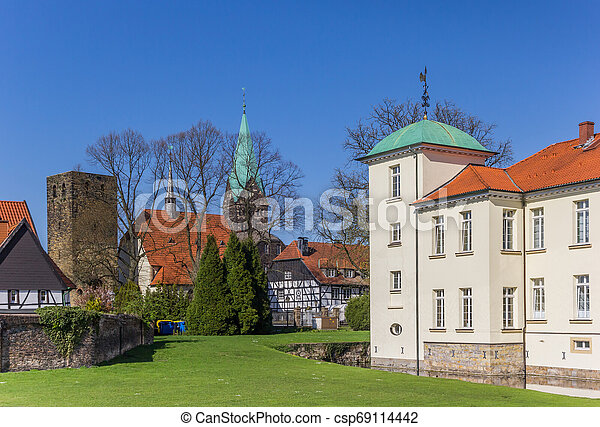 Towers of the castle and church in the Old Village of Westerholt - csp69114442
