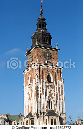 Town hall tower on main square of Cracow - csp17593772