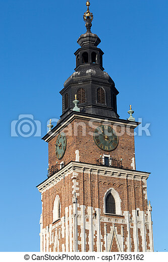 Town hall tower on main square of Cracow - csp17593162