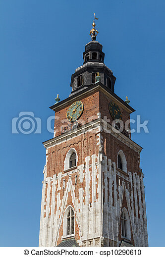 Town hall tower on main square of Krakow - csp10290610