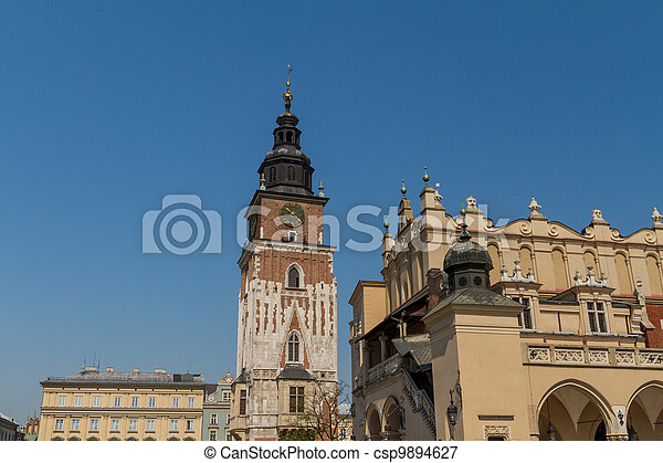 Town hall tower on main square of Krakow - csp9894627