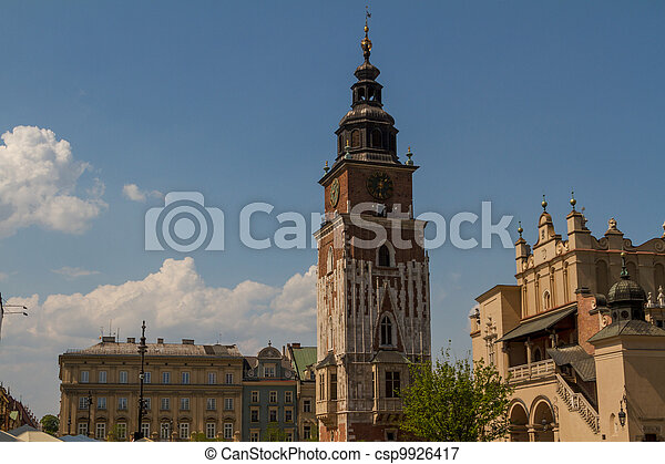 Town hall tower on main square of Krakow - csp9926417