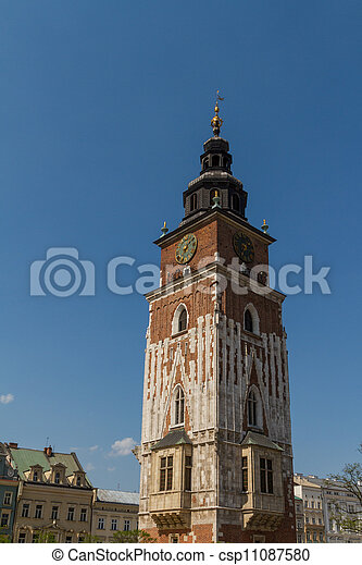 Town hall tower on main square of Krakow - csp11087580