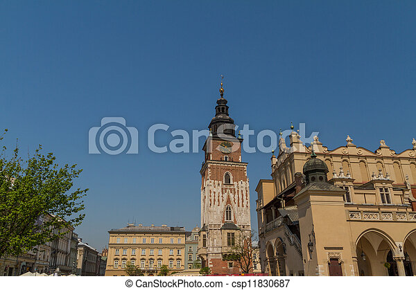 Town hall tower on main square of Krakow - csp11830687