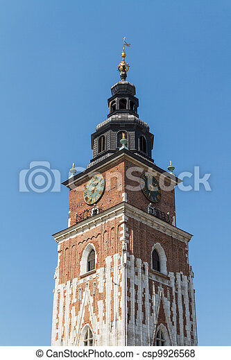 Town hall tower on main square of Krakow - csp9926568
