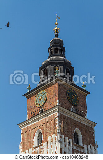 Town hall tower on main square of Krakow - csp10468248