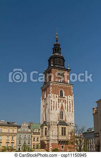 Town hall tower on main square of Krakow - csp11150945