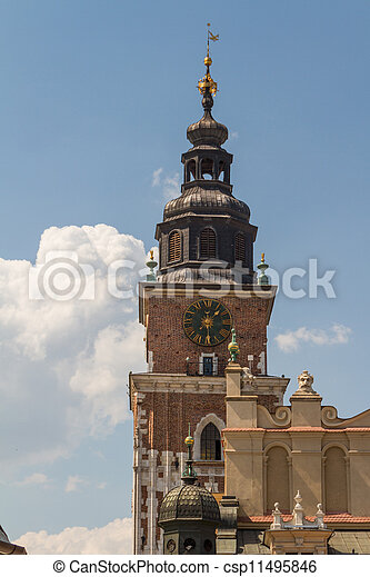 Town hall tower on main square of Krakow - csp11495846