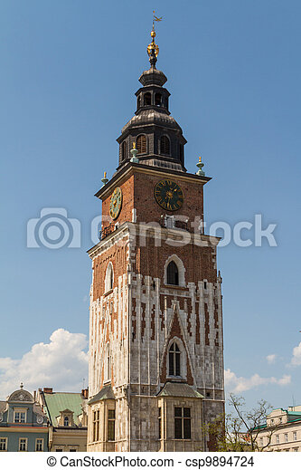 Town hall tower on main square of Krakow - csp9894724