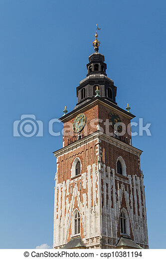 Town hall tower on main square of Krakow - csp10381194