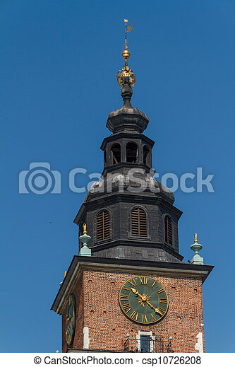 Town hall tower on main square of Krakow - csp10726208