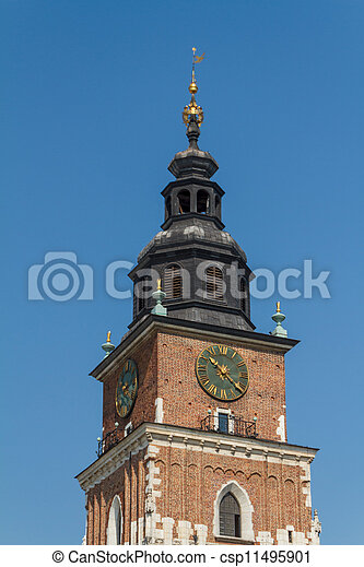 Town hall tower on main square of Krakow - csp11495901