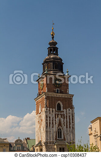 Town hall tower on main square of Krakow - csp10308437